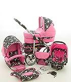Milk Rock Baby Rock Baby 3 in 1 carrozzina passeggino combinato (navicella, seggiolino auto + adattatore, passeggino reversibile, parapioggia, zanzariera, ruote girevoli, 62 colori) 04 rosa & teschio