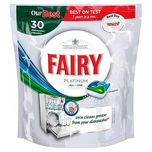 Fairy Platino all in One Dishwasher Tablets Original 30Tabs–Detergente per lavastoviglie