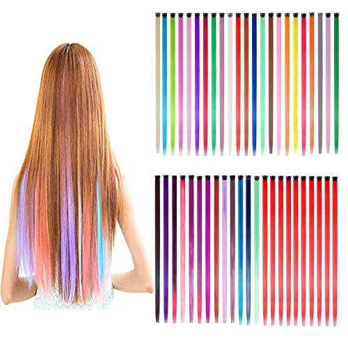GIHENHAO 46 Pezzi Extension Capelli Colorati ClipCiocche Capelli Colorati 55 cm Clip Ciocche Colorate,Arcobaleno Multicolore Clip per Parrucche Estensioni (36 Colori)