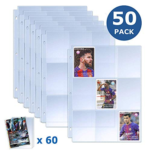 TAOPE Trading Card Sleeves (225 Pockets) with 60 Pieces Individual Baseball Card...