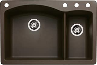 Blanco 440197-4 Diamond 4-Hole Double-Basin Drop-In or Undermount Granite Kitchen Sink, Cafe Brown