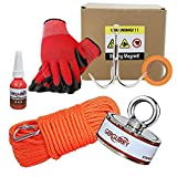 Gerguirry Magnet Fishing Kit Combined 550lbs - Double Sided Neodymium Fishing Magnet Bundle Pack, Heavy Duty Neodymium Magnet with Grappling Hook, 65FT Rope, Gloves & Locking Carabiner