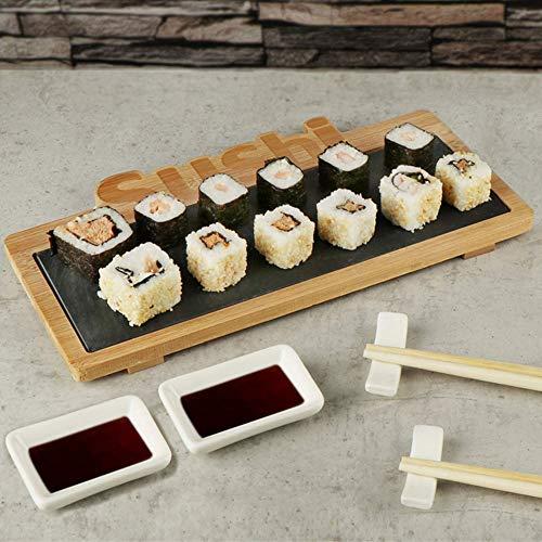 BAKAJI Set Sushi 7pz Cibo Giapponese Servizio per 2 Persone con Bacchette in Bamboo Ciotole per Salse in Ceramica Portabacchette e Vassoio in Legno e Ardesia Estraibile con Scritta Sushi