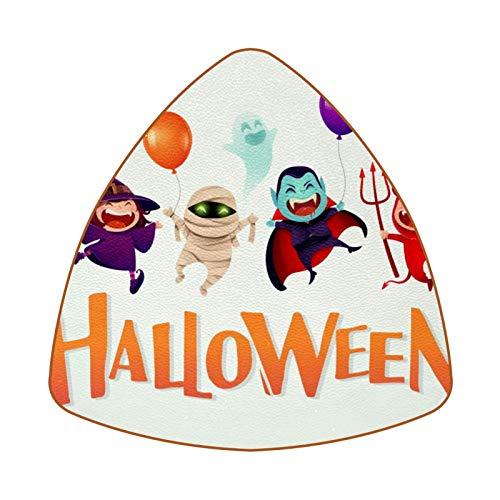Posavasos triangulares para bebidas, Halloween, disfraz de niños, fiesta, taza de cuero, alfombrilla para proteger muebles, resistente al calor, decoración de bar de cocina, juego de 6