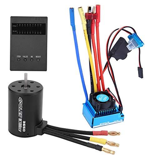 Dilwe Motor 3650 de 3100KV + Juego de Tarjetas de Programa ESC sin escobillas para programación de Piezas de Repuesto de Coche RC 1/10( 120A)
