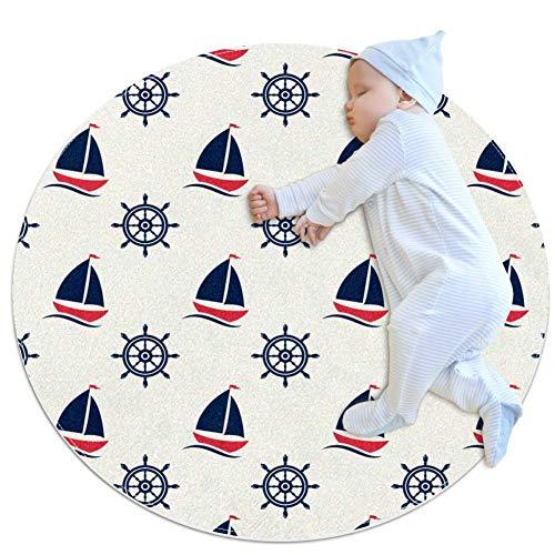 KAMEARI Runder Teppich Segelboot und Ruder Pad Matte für Spielhaus Spielzelt Weich Ultra Weich Rutschfest Niedlich Chic