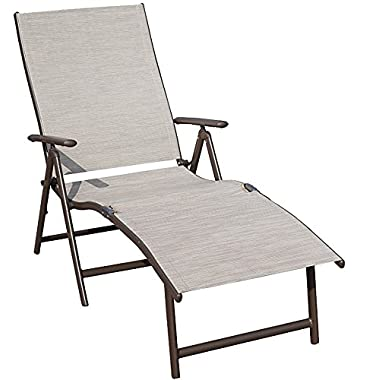 Kozyard Cozy Aluminum Beach Yard Pool Folding Reclining Adjustable Chaise Lounge Chair (Beige)