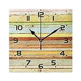 ColorMu Reloj de Pared Diámetro Cuadrado 8 Pulgadas Vintage Azul Verde Amarillo Rayas rústico país Madera acrílico hogar Oficina Decorativo