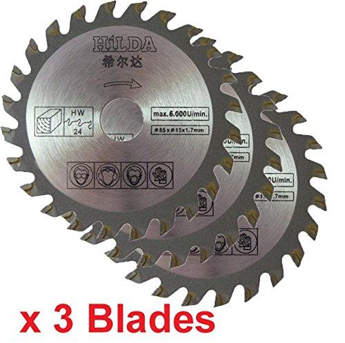 Kreissägeblätter, Durchmesser 85 mm, Bohrung 15 mm, 24 Zähne, 3 Stück