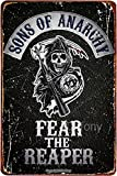Sons of Anarchy Fear The Reaper Vintage Metal Signs Retro Tin Sign Poster Plaque Wall Decor for Bar Cafe Garden Bedroom Office Hotel 8 x 12 Inch