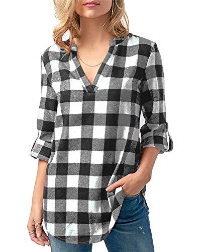 Kyerivs Damen V-Ausschnitt Beiläufig Lose Shirt Oberteile Elegant Sexy Langarmshirt Kariert Hemd Tops Einstellbare Ärmeln (A-schwarz weiß, M)
