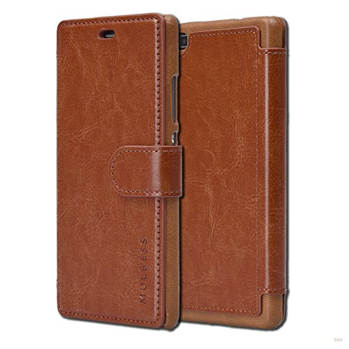 Mulbess Handyhülle für Huawe P8 Hülle Leder, Huawe P8 Handy Hüllen, Layered Flip Handytasche Schutzhülle für Huawe P8 Case, Braun