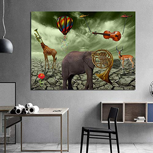 Pintura DIY para adultos, jirafa, trompeta elefante, globo de aire caliente, violín, ciervo, animal, instrumento musical, pintura por número, sobre lienzo para principiantes