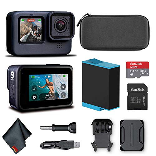 GoPro HERO9 Black - Waterproof Action Camera with Front LCD and Touch Rear Screens, 5K HD Video, 20MP Photos, 1080p Live Streaming, Stabilization + Sandisk 64GB Card and Cleaning Cloth