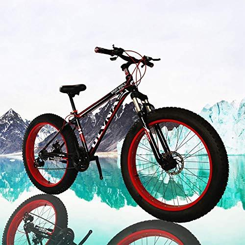 CHHD Fat Bike 26 Tamaño de la Rueda y género de los Hombres Bicicleta Gorda de Snow Bike, Moda MTB 21 velocidades, suspensión Completa, Acero, Freno de Disco Doble, Bicicleta de montaña