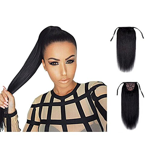Remeehi 100% Remy Human Hair Straight Tie Up Ponytail Extensions Clip in/on Pony Tails for Women 26inch (100g 1b# natural black)