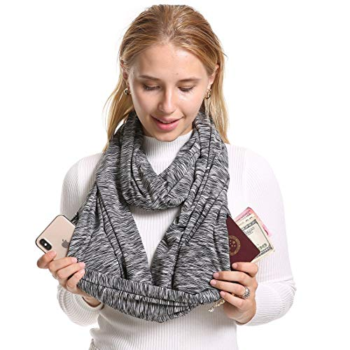 Infinity Scarf With 2 Zipper Pockets - Secret Hidden Travel Scarves for Girls Women Men