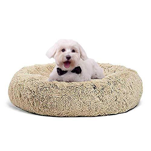 Cama de lujo para perro, cueva con borde elevado, cojín para mascotas con funda extraíble, lavable, cesta de piel de fuax, para perros pequeños, medianos y grandes, beige XL