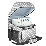 Luxja Serger Case for Most Standard Overlock Machines, Serger Bag with Accessories Storage Pockets (Patented Design), Gray Dots