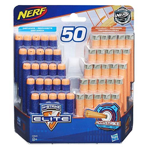 Hasbro Nerf C3543EV2 - N-Strike Dart Nachfüllpack 25 Elite/25 Accu Strike, Spielzeugblaster-Zubehör, 50er Pack