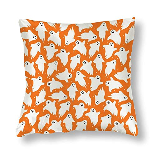 NiYoung Farmhouse Decorative Throw Pillow Case Cushion Case Soft and Comfortable Pillow Covers for Home Decor, 18x18 Inch (Cute Orange Pattern with Little Dancing Ghosts0)