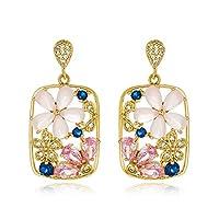 Viennoisヨーロッパとアメリカのレトロな花のモザイク正方形のイヤリングファッション寛大なs 925銀の針のイヤリングの女性