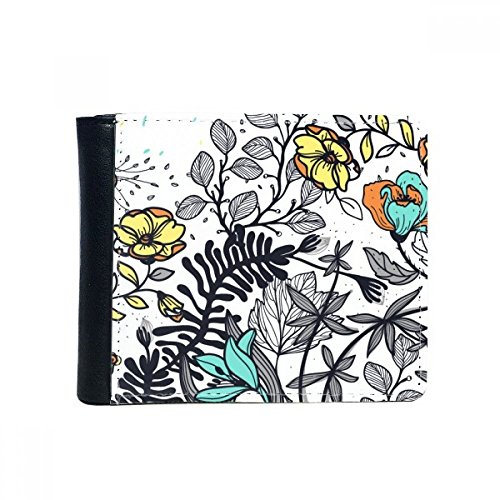 DIYthinker Moderne Kunst Camellia Blumen Pflanzen Zeichnung Flip Bifold Kunstleder Geldbörse Multifunktions-Karten-Geldbeutel-Geschenk One_Size Mehrfarbig