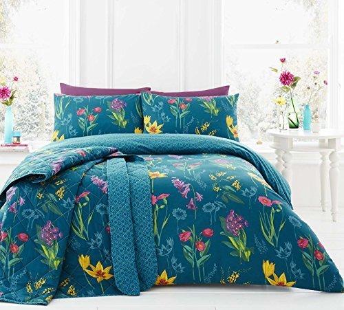 Fleurs Sauvages Floral Géométrique Sarcelle Taille Super King ( Blanc Uni Drap Housse - 180 X 200CM + 25) 4 Pièces Ensemble de Literie