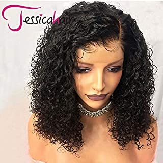 Jessica Hair 150% Density 13x6 Lace Front Wigs For Black Women Curly Human Hair Wigs Brazilian Remy Hair Wet Wavy Lace Wigs Pre Plucked With Baby Hair (8 inch with 150% density)