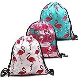 ANDERK 3 Pack Personalised Drawstring Bags for Children, Full Printing Drawstring Backpack School Nylon Folding Bag for Travel Sport Storage, 3 Color