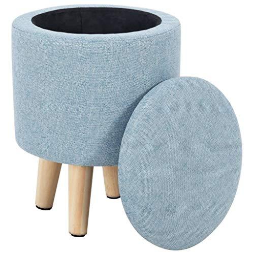 vidaXL Hocker mit Stauraum Stoff Rund Blau Sitzhocker Sitzwürfel Fußhocker