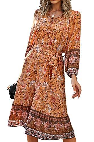 ZIYYOOHY Damen Kleid Blumen Muster Langarm Frühling Sommer Oberteile (Orange-008, L)