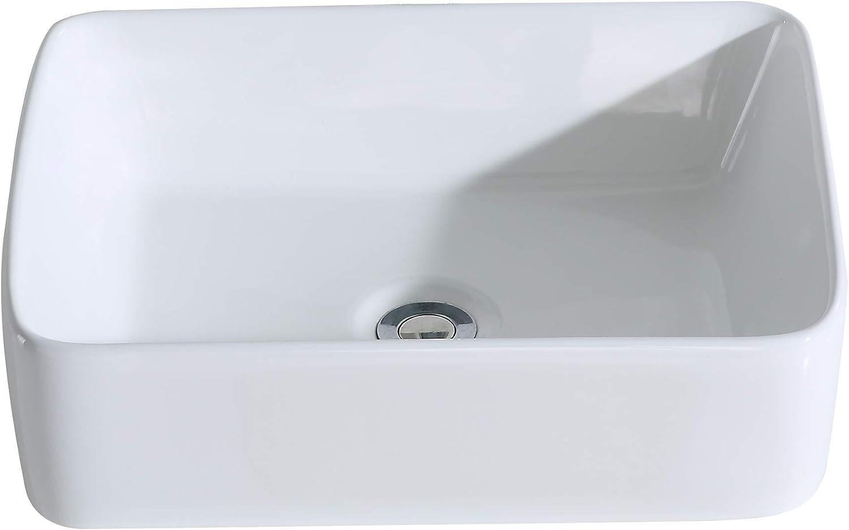 Eridanus Lavabo de Cerámica, Fregadero de Rectángulo sobre Encimera de Serie Rufus-01(49x37x13,5cm)