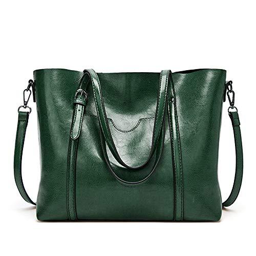 MINGZE Bolsos Mujer Tote, De Hombro Bolso Piel Bandolera Cuero Moda Grande Capacidad Casual Suave Piel Bolsa de la Compra Mensajero (Verde)