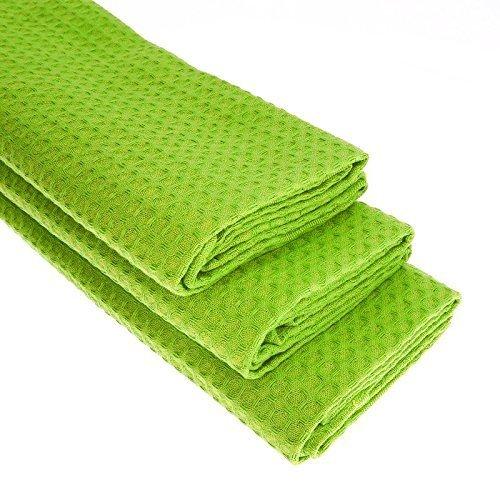 3 hellgrüne Geschirrtücher aus 100% Baumwolle/Waffel-Piqué/Apfelgrün/Küchentuch/Putztuch/Handtuch/Geschirrtuch/Gastro Qualität/grün