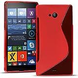 Conie SC19566 S Line Hülle Kompatibel mit Microsoft Lumia 535, TPU Smartphone Hülle Transparent Matt rutschfeste Oberfläche für Lumia 535 Rückseite Design Rot