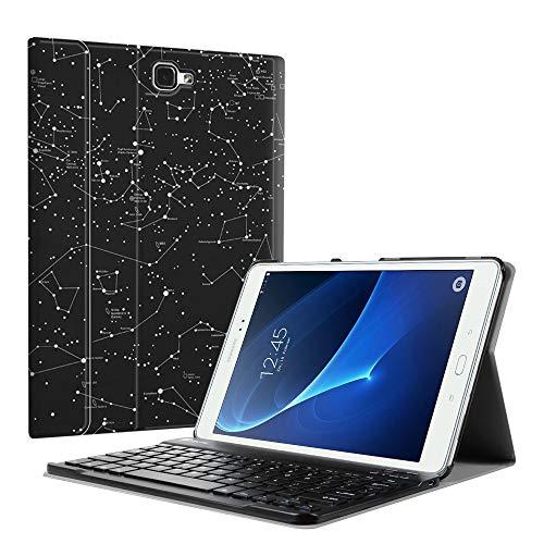 Fintie Tastatur Hülle für Samsung Galaxy Tab A 10,1 Zoll 2016 T580N/ T585N Tablet - Ultradünn leicht Schutzhülle mit magnetisch Abnehmbarer Drahtloser Deutscher Bluetooth Tastatur, Sternbild