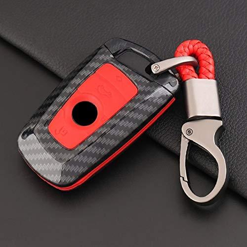 YJLOVK Para la Cubierta de la Caja de la Llave Inteligente del Coche ABS de Fibra de Carbono paraBMW 520525 f30 f10 F18 118i 320i 1 3 5 7Series X3 X4 M3 M4 M5 E34 E90 E60 E36, Rojo