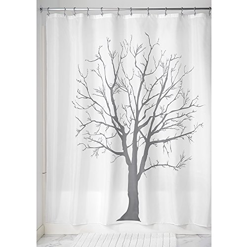 Price comparison product image iDesign Tree Shower Curtain,  High Bathtub Curtain,  Made of Polyester,  Charcoal