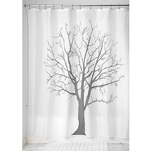 iDesign Tree Duschvorhang | Designer Duschvorhang in 183,0 cm x 183,0 cm | mit tollem Duschvorhang Motiv | Baum-Optik | Polyester grau