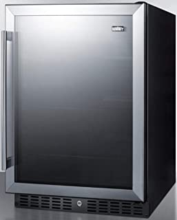 Summit AL57G Built-in Undercounter ADA Compliant All-Refrigerator with Glass Door, Black Cabinet, Door Storage, Lock, and Digital Thermostat