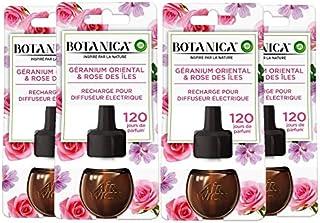 Air Wick Botanica Désodorisant Maison Recharge Electrique, Parfum Géranium Oriental et Rose des Iles 19 ML, Lot de 4