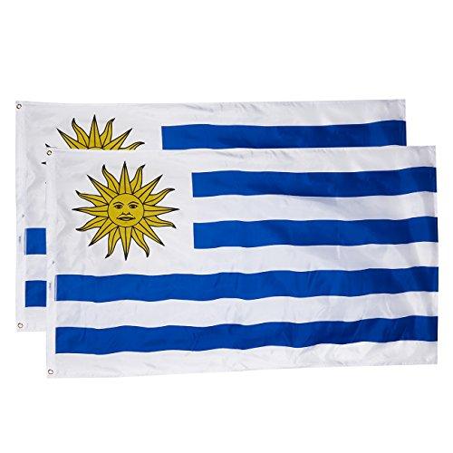 Juvale - Banderines de 2 piezas para exterior de 3 x 5 pies con bandera nacional uruguaya, banderas de poliéster de doble costura con ojales de latón