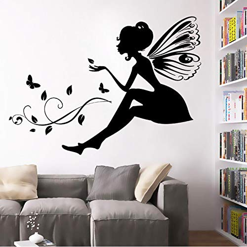 Pegatinas de pared de hadas de flores, pegatinas de fondo de mariposa para niñas pequeñas con alas, calcomanía de vinilo para Mural A7 57X42CM