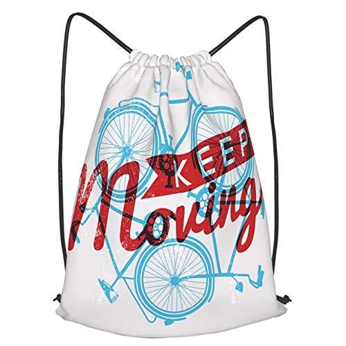 AndrewTop Bolsa Cuerdas con cordón impermeable Unisex,Motivación de concepto de contorno de bicicleta retro grunge,LigeroCasual ,Deporte Gimnasio Mochilas