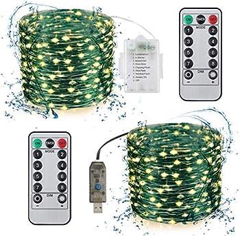 2-Pack Fuloon 100 LEDs 33Ft Waterproof String Lights