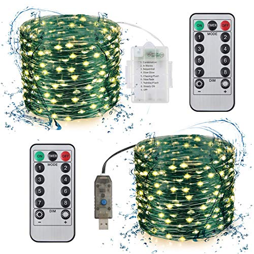 Fuloon String Lights 2 Pack 100 LEDs 33Ft Waterproof String Lights for Halloween Bedroom Wedding Garden Patio Party Decorative Lighting Christmas Light Indoor Outdoor Decoration Warm White