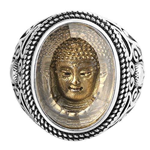 SAINTHERO Men's Vintage Stainless Steel Oval Signet Religious Rings Silver Black Sakyamuni Buddha Rings Size 11