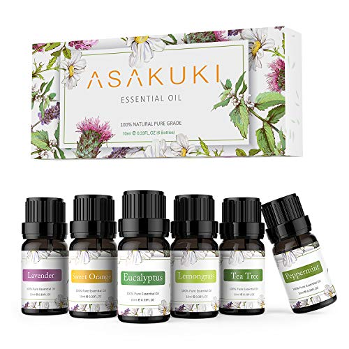 ASAKUKI Essential Oils Top 6 Gift Set 100% Pure Therapeutic Grade Aromatherapy Oils for DiffuserHumidifier Massage Includes Lavender Eucalyptus Lemongrass Tea Tree Sweet Orange and Peppermint