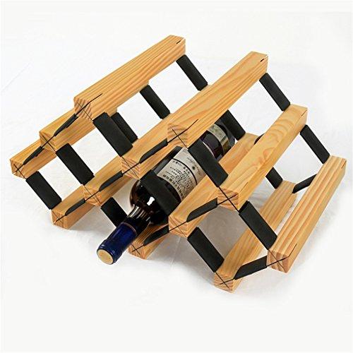 Application de décoration murale Porte-bouteilles de vin de 6 bouteilles-étagère suspendue de gobelet de plancher multi-fonction de plancher en bois solide Racks pour étagères (Couleur : Wood)